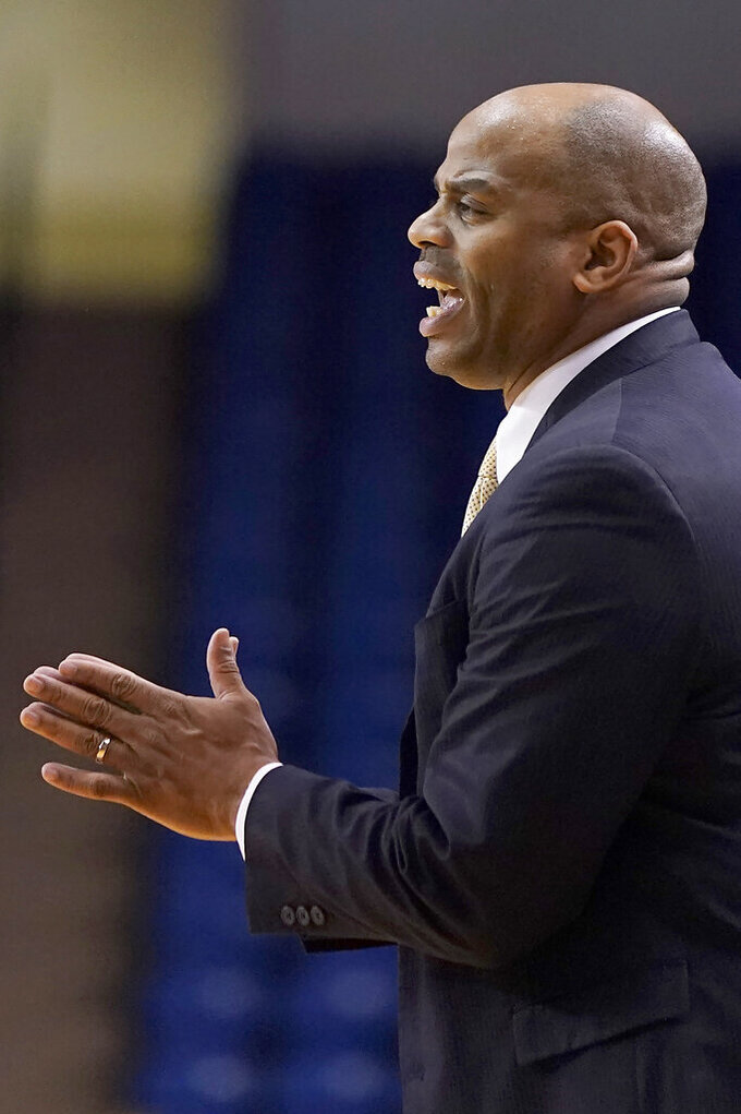 San Jose State coach Jean Prioleau yells out to his players during the first half against Utah State in an NCAA college basketball game Wednesday, Dec. 4, 2019, in San Jose, Calif. (AP Photo/Tony Avelar)