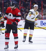 Vegas Golden Knights right wing Mark Stone (61) celebrates a goal against the Ottawa Senators during the second period of an NHL hockey game, Thursday, Jan. 16, 2020 in Ottawa, Ontario. (Sean Kilpatrick/The Canadian Press via AP)