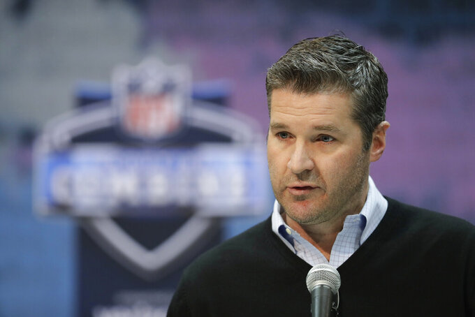 "FILE - In this Thursday, Feb. 28, 2019 file photo, Houston Texans general manager Brian Gaine speaks during a press conference at the NFL football scouting combine in Indianapolis. The Houston Texans have abruptly fired general manager Brian Gaine less than 18 months after he took the job. The team announced the move Friday, June 7, 2019 with a statement from team owner Cal McNair, who said only that ""while the timing may be unusual, this decision was made in the best interest of the organization in our quest to build a championship team."" (AP Photo/Darron Cummings, File)"