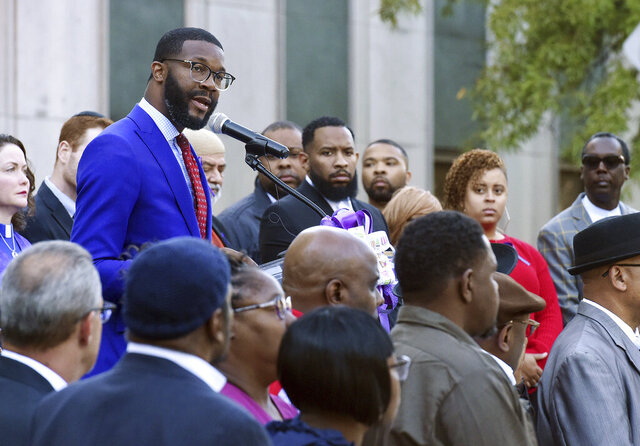 FILE - In this Wednesday, Oct. 23, 2019, file photo, Birmingham Mayor Randall Woodfin speaks at a candlelight vigil in Birmingham, Ala. Officials say the mayor of Birmingham, Alabama, has been hospitalized with COVID-19 pneumonia, five days after announcing he tested positive for coronavirus. (Joe Songer/The Birmingham News via AP, File)