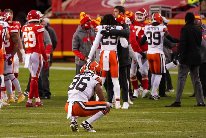 FILE - In this Jan. 17, 2021, file photo, Cleveland Browns cornerback M.J. Stewart Jr. (36) reacts on the field after an NFL divisional playoff football game against the Kansas City Chiefs in Kansas City. The Browns are on their way back to Kansas City's rowdy Arrowhead Stadium, where Cleveland's 2020 season ended with a gut-punching playoff loss and where its 2021 season,  one with Super Bowl hopes, starts. (AP Photo/Charlie Riedel, File)