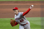 Los Angeles Angels relief pitcher Ryan Buchter throws to a Seattle Mariners batter duirng the third inning of a baseball game Wednesday, Aug. 5, 2020, in Seattle. (AP Photo/Elaine Thompson)