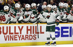Minnesota Wild center Mikko Koivu (9), of Finland, celebrates after scoring a goal against the Nashville Predators in the second period of an NHL hockey game Monday, Oct. 15, 2018, in Nashville, Tenn. (AP Photo/Mark Humphrey)