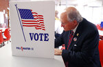 Former Mississippi Supreme Court Chief Justice Bill Waller Jr., a Republican gubernatorial candidate votes in the party primary at a Jackson, Miss., precinct, Tuesday, Aug. 6, 2019. (AP Photo/Rogelio V. Solis)