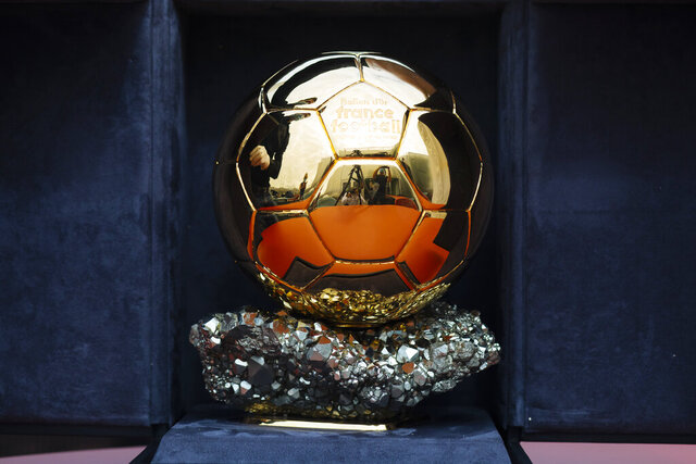 The Ballon d'Or award in Boulogne-Billancourt, outside Paris, Friday, July 17, 2020. The prestigious Ballon d'Or will not be awarded this year because the coronavirus pandemic has disrupted the soccer season. Awarded by France Football magazine, the Ballon d'Or has been given out every year since Stanley Matthews won the first one in 1956. Lionel Messi has won it a record six times — one more than longtime rival Cristiano Ronaldo. (AP Photo/Kamil Zihnioglu)