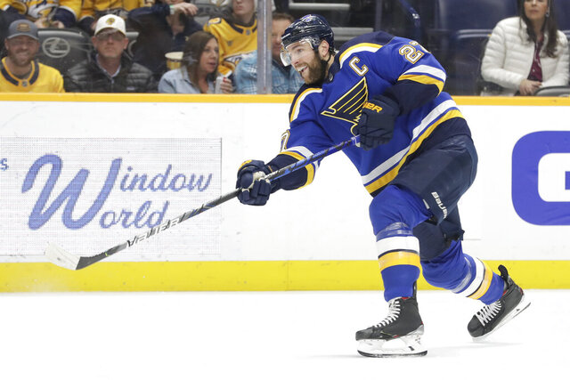 FILE  - In this Feb. 16, 2020, file photo, St. Louis Blues defenseman Alex Pietrangelo plays against the Nashville Predators in the first period of an NHL hockey game, in Nashville, Tenn. The NHL is embarking on a free agent period like never before in hockey history. Defensemen Alex Pietrangelo and Torey Krug and winger Taylor Hall headline a talented free agent class. (AP Photo/Mark Humphrey, File)