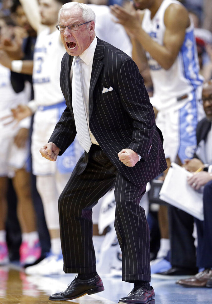 North Carolina coach Roy Williams reacts during the second half of the team's NCAA college basketball game against Duke in Chapel Hill, N.C., Saturday, March 9, 2019. North Carolina won 79-70. (AP Photo/Gerry Broome)