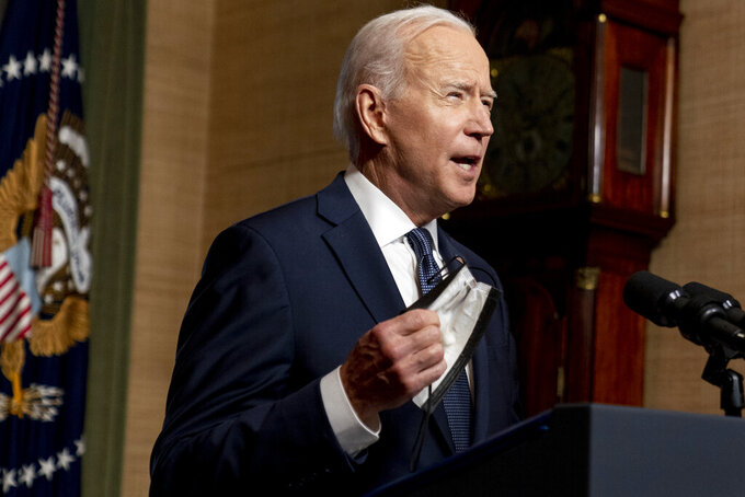 FILE - In this April 14, 2021 file photo, President Joe Biden speaks from the Treaty Room in the White House about the withdrawal of the remainder of U.S. troops from Afghanistan. A U.S. defense department official said Thursday April 22, 2021, that the U.S. military has begun shipping equipment and winding down contracts with local service providers ahead of the May 1 start of the final phase of its military pullout from Afghanistan. The pullout marks the end of America's longest war, after a 20-year military engagement. (AP Photo/Andrew Harnik, Pool, File)