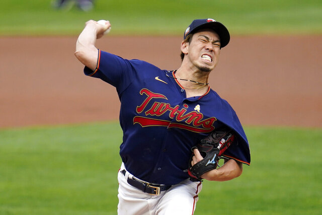 Minnesota Twins pitcher Kenta Maeda throws to a Detroit Tigers batter during  the first inning of a baseball game Saturday, Sept. 5, 2020, in Minneapolis. (AP Photo/Jim Mone)