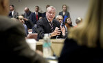 New Jersey Gov. Phil Murphy, center, speaks as he lobbies for the Gateway Project before a Congressional delegation at Port Authority headquarters, Friday May 3, 2019, in New York. (AP Photo/Bebeto Matthews)