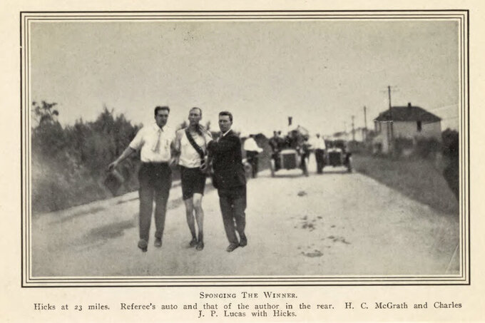 This image provided by the Library of Congress, shows Thomas Hicks competing in the marathon at the 1904 Olympic games in St. Louis. The marathon may be the single most memorable event from the 1904 Games. The race took place in 90-degree heat on dusty roads with only a single water break, and 18 of the 32 athletes withdrew from exhaustion. . (Library of Congress, Meeting of Frontiers via AP)