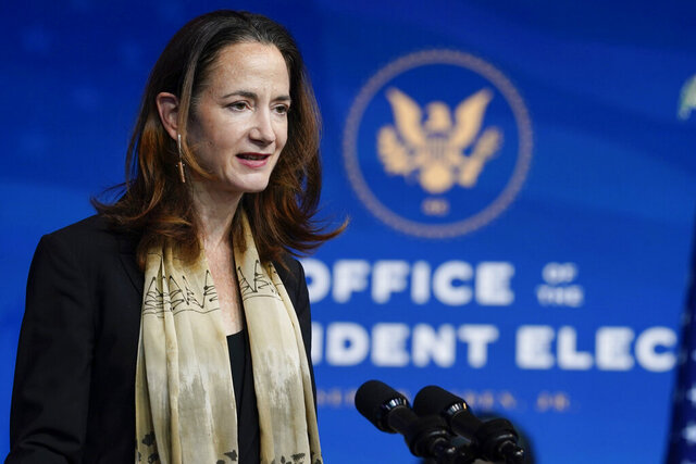 FILE - In this Nov. 24, 2020, file photo President-elect Joe Biden's nominee for Director of National Intelligence Avril Haines speaks at The Queen theater in Wilmington, Del. (AP Photo/Carolyn Kaster, File)