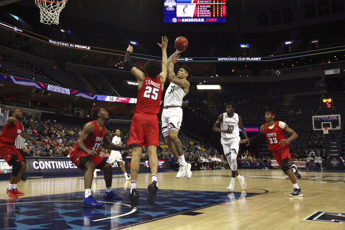 Cincinnati's Jarron Cumberland shoots during the second half of the team's NCAA college basketball game against SMU at the American Athletic Conference men's tournament Friday, March 15, 2019, in Memphis, Tenn. (AP Photo/Troy Glasgow)