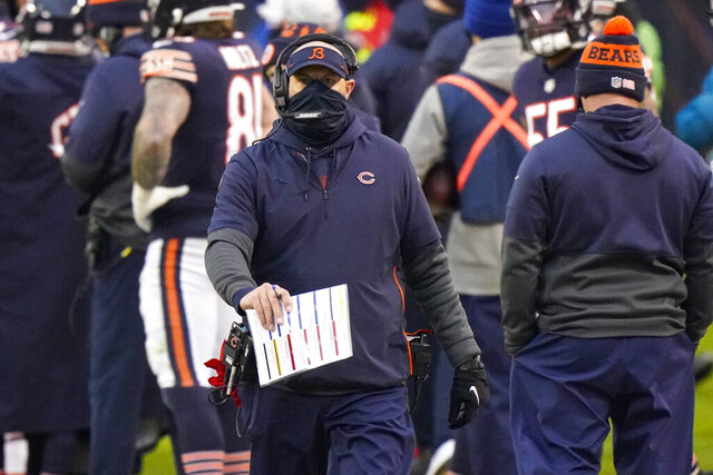 Chicago Bears head coach Matt Nagy on the sideline in the second half of an NFL football game against the Detroit Lions in Chicago, Sunday, Dec. 6, 2020. (AP Photo/Nam Y. Huh)