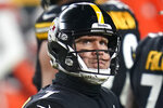 Pittsburgh Steelers quarterback Ben Roethlisberger (7) looks a the scoreboard as he walks off the field during the first half of an NFL wild-card playoff football game against the Cleveland Browns, Sunday, Jan. 10, 2021, in Pittsburgh. (AP Photo/Keith Srakocic)