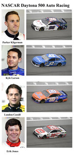 In these photos taken in February 2019, qualifying drivers and their cars in the starting field for Sunday's NASCAR Daytona 500 auto race are shown at Daytona International Speedway in Daytona Beach, Fla. They are, from top, Row 13, Parker Kligerman, Kyle Larson, Row 14, Landon Cassill and Erik Jones. (AP Photo)