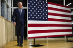 Democratic presidential candidate former Vice President Joe Biden arrives at a campaign event at Iowa Central Community College, Tuesday, Jan. 21, 2020, in Fort Dodge, Iowa. (AP Photo/Matt Rourke)