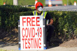 FILE - In this Aug. 19, 2020, file photo, a healthcare worker sits at the entrance to a free COVID-19 testing site at Minute Maid Park in Houston. U.S. health officials have sparked a wave of confusion after posting guidelines that coronavirus testing is not necessary for people who have been in close contact with infected people. (AP Photo/David J. Phillip, File)