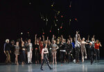 This Saturday, Oct. 26, 2019, photo provided by the American Ballet Theatre shows the curtain call at the celebration of Herman Cornejo's 20th Anniversary with American Ballet Theatre in New York. Cornejo has been a favorite of New York ballet audiences ever since he set foot on the American Ballet Theatre stage 20 years ago. (Kyle Froman via AP)