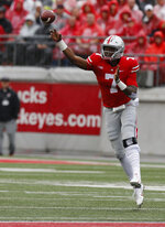 Ohio State quarterback Dwayne Haskins throws a pass against Rutgers during the first half of an NCAA college football game Saturday, Sept. 8, 2018, in Columbus, Ohio. (AP Photo/Jay LaPrete)
