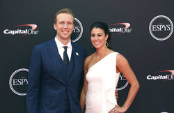 "FILE - In this  Wednesday, July 18, 2018 file photo, Philadelphia Eagles' Nick Foles, left, and Tori Moore arrive at the ESPY Awards at Microsoft Theater in Los Angeles. The wife of Jacksonville Jaguars quarterback Nick Foles announced on Instagram that she had a miscarriage and said getting over the ""traumatic loss"" will take time. Tori Foles says she was about 15 weeks pregnant with the couple's second child when she went into sudden labor Sunday morning, May, 26, 2019 and ""knew something was wrong."" (Photo by Willy Sanjuan/Invision/AP, File)"
