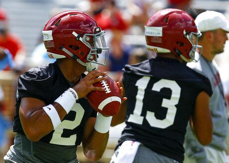 Alabama Quarterback Battle Football