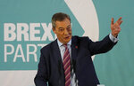 Brexit party leader Nigel Farage speaks during an event as part of the General Election campaign trail, in Hartlepool, England, Monday, Nov. 11, 2019. Britain goes to the polls on Dec. 12. (AP Photo/Frank Augstein)