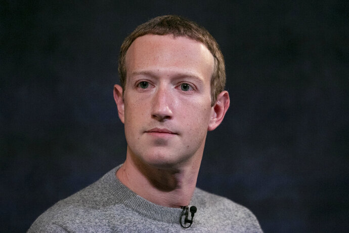 FILE - In this Friday, Oct. 25, 2019, file photo, Facebook CEO Mark Zuckerberg speaks about