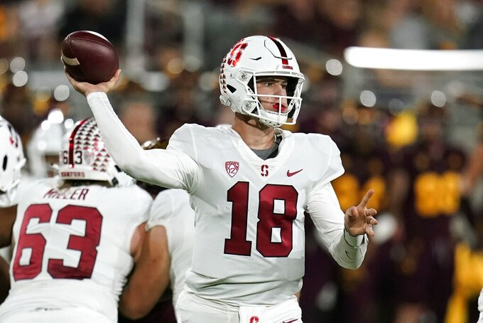Stanford quarterback Tanner McKee (18) throws a pass against Arizona State during the first half of an NCAA college football game Friday, Oct. 8, 2021, in Tempe, Ariz. (AP Photo/Ross D. Franklin)