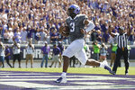 FILE - In this Sept. 1, 2018, file photo, TCU quarterback Shawn Robinson (3) crosses the goal line, scoring on a 36-yard touchdown against Southern University during the first half of an NCAA college football game in Fort Worth, Texas. Robinson, a sophomore, is the first TCU quarterback since 2008 to win his first two starts. TCU plays at SMU this week. (AP Photo/Ron Jenkins, File)