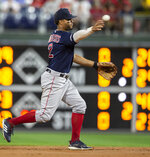 Boston Red Sox shortstop Xander Bogaerts (2) throws to first for an out against Philadelphia Phillies' Adam Haseley (40) during the second inning of a baseball game, Saturday, Sept. 14, 2019, in Philadelphia. (AP Photo/Laurence Kesterson)