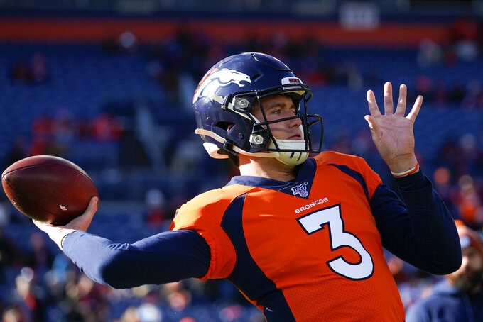 Denver Broncos quarterback Drew Lock warms up before an NFL football game against the Oakland Raiders, Sunday, Dec. 29, 2019, in Denver. (AP Photo/Jack Dempsey)