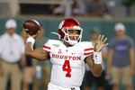 FILE - Houston quarterback D'Eriq King throws a pass during the first half of the team's NCAA college football game against Tulane in New Orleans, Thursday, Sept. 19, 2019. Miami coach Manny Diaz waited until about a week before the start of training camp before he announced that D'Eriq King would be the team's starting quarterback. It was a formality. From the moment King announced that he was transferring to Miami last winter, it has been certain that he was taking over the starting job. He and the Hurricanes open the season Sept. 10 at home against UAB, with Miami looking for much better play from the offense in 2020.(AP Photo/Gerald Herbert, File)