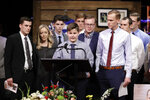 Ethan Trent, brother of Tyler Trent, speaks during a funeral for Tyler at College Park Church, Tuesday, Jan. 8, 2019, in Indianapolis. Tyler Trent, an avid Purdue fan, died on New Year's Day following a bout with bone cancer. (AP Photo/Darron Cummings, Pool)