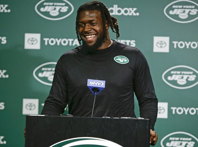 New York Jets' Jachai Polite speaks during an NFL football news conference Friday, May 10, 2019, in Florham Park, N.J. (AP Photo/Frank Franklin II)