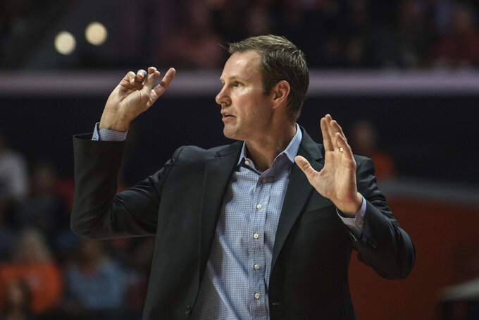 Nebraska head coach Fred Hoiberg reacts on the sideline in the first half of an NCAA college basketball game against Illinois, Monday, Feb. 24, 2020, in Champaign, Ill. (AP Photo/Holly Hart)