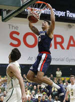 Gonzaga forward Brandon Clarke dunks against San Francisco during the first half of an NCAA college basketball game in San Francisco, Saturday, Jan. 12, 2019. (AP Photo/Jeff Chiu)