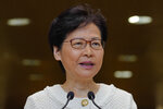 Hong Kong Chief Executive Carrie Lam, talks during a press conference at the government building in Hong Kong Tuesday, Sept. 10, 2019. Hong Kong leader Carrie Lam renews an appeal to pro-democracy protesters to halt violence and engage in dialogue, as the city's richest man urged the government to provide a way out for the mostly young demonstrators. (AP Photo/Vincent Yu)
