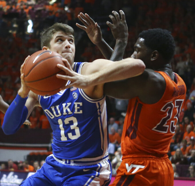 No. 10 Duke rallies past Virginia Tech 77-63