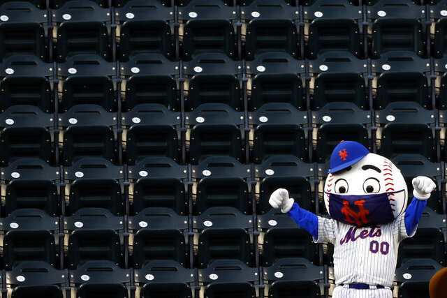 A New York Mets mascot dances in the stands during a break in play in a baseball game between the Atlanta Braves and the Mets on Sunday, July 26, 2020, in New York. (AP Photo/Adam Hunger)