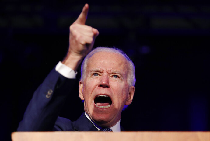 Democratic presidential candidate former Vice President Joe Biden speaks at the Clark County Democratic Party