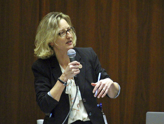 FILE - In this Jan. 31, 2017 file photo Democratic Rep. Kirsten Engel speaks at the Capitol in Phoenix. Now State Senator Engel of Tucson has resigned to focus on her campaign for the U.S. House. Engel said Wednesday, Sept. 8, 2021 that Arizona's 2nd Congressional District race will be pivotal to the Democratic Party's efforts to retain the U.S. House majority. (AP Photo/Bob Christie,File)