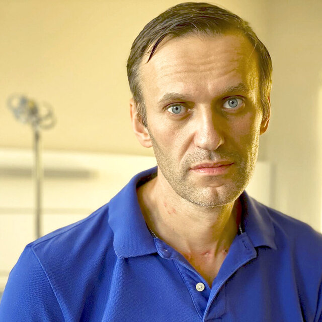 In this handout photo published by Russian opposition leader Alexei Navalny on his instagram account on Tuesday, Sept. 22, 2020, Navalny poses for a photo in a hospital in Berlin, Germany. German doctors say Russian opposition leader Alexei Navalny released from hospital after poisoning treatment. (Navalny instagram via AP)