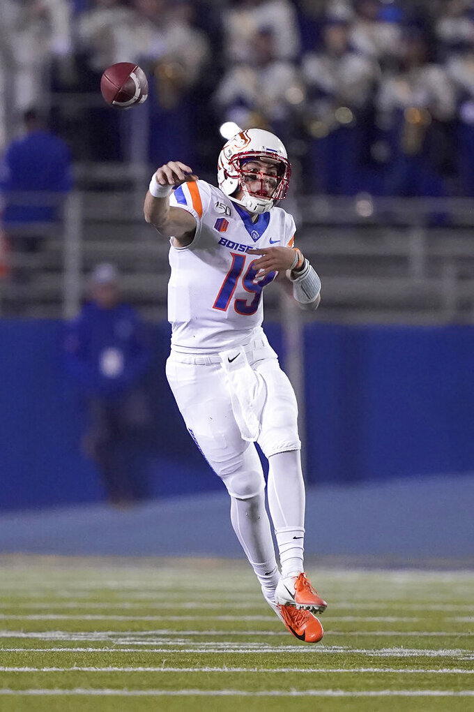 Boise State quarterback Hank Bachmeier (19) throws against San Jose State during the first half of an NCAA college football game, in San Jose, Calif., Saturday, Nov. 2, 2019. (AP Photo/Tony Avelar)