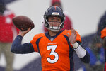 Denver Broncos quarterback Drew Lock throws a pass during the first half of an NFL football game against the Kansas City Chiefs, Sunday, Oct. 25, 2020, in Denver. (AP Photo/David Zalubowski)
