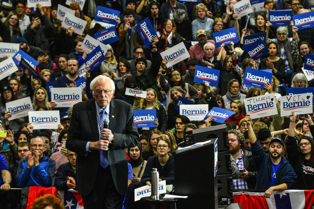Democratic presidential candidate Sen. Bernie Sanders, I-Vt., holds a rally at Keene State College in Keene, N.H., Sunday, Feb. 9, 2020. (Kristopher Radder/The Brattleboro Reformer via AP)