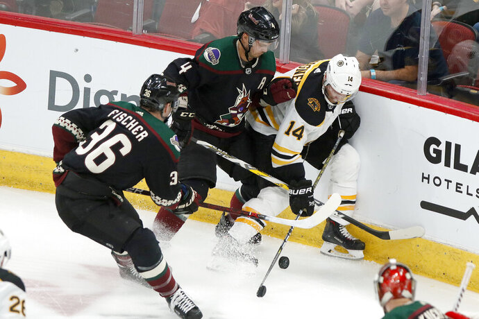 Boston Bruins' Chris Wagner (14) gets pinned up against the boards by the Arizona Coyotes' Niklas Hjalmarsson (4) and Christian Fischer (36) during the second period of an NHL hockey game Saturday, Oct. 5, 2019, in Glendale, Ariz. (AP Photo/Darryl Webb)