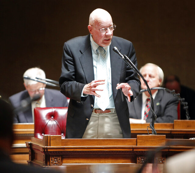 FILE - In this June 14, 2011, file photo, state Sen. Fred Risser, D-Madison, speaks in the Senate chamber at the state Capitol in Madison, Wis. Risser, 92, the nation's longest-serving legislator, announced Thursday, March 26, 2020, that he won't seek re-election. Risser has represented the Madison area in the Legislature for more than 60 years, making him the longest-serving legislator in state and national history. (M.P. King/Wisconsin State Journal via AP, File)