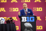 University of Minnesota head coach P.J. Fleck speaks during an NCAA college football news conference at the Big Ten Conference media days, Thursday, July 22, 2021, at Lucas Oil Stadium in Indianapolis. (AP Photo/Doug McSchooler)