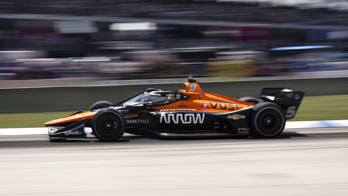 Pato O'Ward (5) competes during the second race of the IndyCar Detroit Grand Prix auto racing doubleheader on Belle Isle in Detroit, Sunday, June 13, 2021. (AP Photo/Paul Sancya)